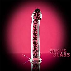 Стеклянный фаллос  со внутренними спиралями (Sexus-glass 912062-2)  Красивый прозрачный стимулятор  с переплетающимися спиралями внутри. Абсолютно гладкий с головкой и подставкой у основания.