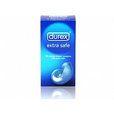 Презервативы более плотные DUREX EXTRA SAFE, 12 шт.  Durex Extra Safe - это презервативы особой формы для большего удобства при надевании. Это немного плотнее обычного презерватива, с дополнительной смазкой содержащей Ноноксинол 9 для большей надежности. Прозрачные презервативы, особой формы, с соскообразным кончиком. Изготовлены из натуральной резины-латекса. Обработаны бесспермицидной смазкой. Номинальная ширина - 56 мм. Презервативы в упаковке 12 штук.