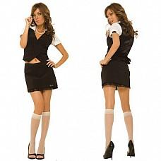 Деловой костюм HUSTLER HC145-ML (500)  Деловой костюм для не только серьезных, но и соблазнительных девушек, HUSTLER продумал все - аппетитный вырез на жакете в вертикальную полоску, которая зрительно стройнит, чуть-чуть приоткрытый животик и короткая юбочка, декорированная кружевом по низу.