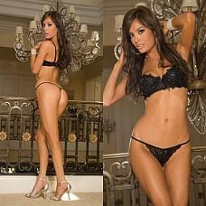 Комплект нижнего белья SEXY SHINE HL201-BLKS (350)  Комплект нижнего белья из трусиков стрингов из кружев и поддерживающего бюстгальтера на косточках.