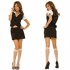 Деловой костюм HUSTLER HC145-SM (500)  Деловой костюм для не только серьезных, но и соблазнительных девушек, HUSTLER продумал все - аппетитный вырез на жакете в вертикальную полоску, которая зрительно стройнит, чуть-чуть приоткрытый животик и короткая юбочка, декорированная кружевом по низу.