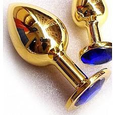 Золотая анальная пробка GOLDEN PLUG Large синий  Золотая анальная пробка с шикарным Синим стразом на основании - это изящный способ разнообразить интимные моменты вашей близости и приятный подарок для партнера. Используется в качестве интимного украшения. Размер изделия L. Изготовлена из медицинской стали с позолотой. Длина 13 см, диаметр 4 см. Вес 300 гр.