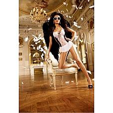 Angel Мини-платье OS (42-46), белый  Чем могу быть полезен? Возбуждающий комплект во французском стиле с белым кружевом из очень тонкого материала в сетку черного цвета и миниатюрный фартушек дают возможность для полета фантазий и при этом чрезвычайно удобны в носке.