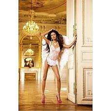 Angel Мини-платье OS (42-46), белый  Чем могу быть полезен? Возбуждающий комплект во французском стиле с белым кружевом из очень тонкого материала в сетку нежно-розового цвета и миниатюрный фартушек дают возможность для полета фантазий и при этом чрезвычайно удобны в носке.