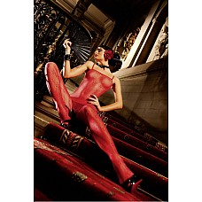 Spanish Чулок на тело OS (42-46), красный  Две тоненькие бретельки красного боди-комбинезона соединяют два изумительных элемента — изысканную сеточку и кружева в цветочек — в одно необычное целое.