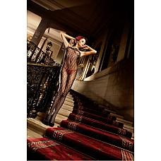 Spanish Чулок на тело OS (42-46), черный  Бесшовный боди-комбинезон черного цвета из особенно красивого и элегантного материала, привлекающий внимание главным образом благодаря кружеву с узором в виде геральдической лилии и окантовке с рюшами.
