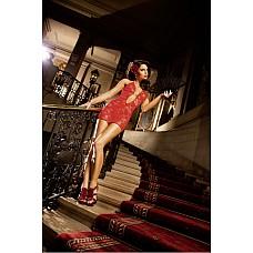 Spanish Мини-платье OS (42-46), красный  Удобство и невероятная сексапильность — маленькое платье с бретелью-петлей красного цвета, отделанное прекрасным кружевом с цветочным рисунком, возбуждает фантазию.
