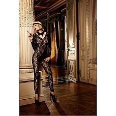 Mafia Чулок на тело OS (42-46), черный  Смелый боди-комбинезон насыщенного черного цвета соблазнительно подчеркнет фигуру благодаря облегающему силуэту, длинным рукавам и вырезам в области ног.