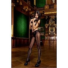 Devil Колготки OS (42-46), черный  Почти неописуемо красивые и украшающие ноги колготки черного цвета, привлекающие внимание благодаря очень тонкому материалу в сетку и изящному узору по бокам.