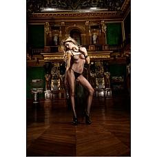Devil Чулок на тело OS (42-46), черный  Соблазните своего партнера, используя классический и элегантный боди-комбинезон в сеточку черного цвета, который благодаря вырезу в форме шлема в интимной области предоставляет необычные возможности.
