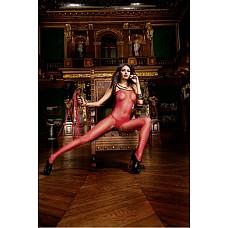 Devil Чулок на тело OS (42-46), красный / черный  Соблазните своего партнера классически элегантным сексуальным красным боди-комбинезоном в сеточку.