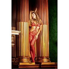 Devil Чулок на тело OS (42-46), красный  Благодаря необычному дизайну этот красный боди-комбинезон в сеточку произведет хорошее впечатление на любого.