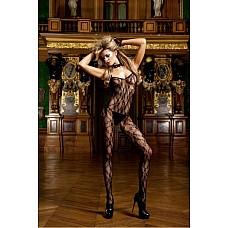 Devil Чулок на тело OS (42-46), черный  Сказочный и очень удобный кружевной боди-комбинезон со смелым разрезом в форме шлема и тонкими бретелями, прекрасно лежащими на плечах.