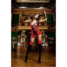 Devil Мини-платье OS (42-46), красный  Маленькое платье, выполненное в красном и черном цвете, из очень тонкого материала в сетку и крапинку благодаря открытым чашечкам и V-образному вырезу на спине соединяет в себе раскрепощенность и сексуальную чувственность.