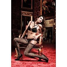 Have Fun Princess Чулки черные с нежным узором и розовыми сатиновыми ленточками на манжеткеOS (42-  Роскошные цветочные орнаменты черных чулков нежно облегают Ваше тело.