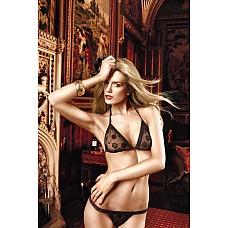 Dolce Vita Комплект бикини черный с роскошной цветочной вышивкой и кружевной кромкой  Интересный дизайн черного комплекта бикини из бюстгальтера с завязками за шеей и стрингов воодушевит Вас.