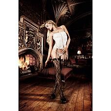 Dolce Vita Чулки черные кружевные  с цветочным орнаментом, кружевной манжеткой и шнуровкой сзадиOS  Страстные чулки  в нежных контрастах с исключительным роскошным узором чувственно облегают Ваше тело.