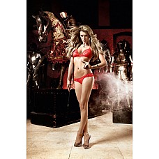 Deeper in Hell Комплект красный бикини из Бюстгальтером треугольником и трусикам с точечками  Игривость и  эротичность- качества этого страстно-красного комплекта бикини .