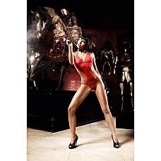 Deeper in Hell Монокини красное из тюлевой ткани с точечками  Страстный вид красного монокини в его прозрачном дизайне с задорными аппликациями из точечек распыляет эротику и игривый шарм.