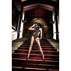 Deeper in Hell Монокини черный с узором в точечку и кружевными краями  Исключительный дизайн и стильная чувственность выделяет этот черный монокини с завязками за шеей.