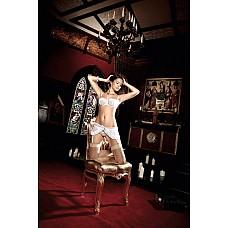 Back in Heaven Комплект: бюстгальтер белый с розовыми сатиновыми ленточками, косточками  Соблазнительный бюстгальтер Balconnet со съемными бретельками, косточками и короткой юбочкой с подвязками для чулков в чувственном комплекте.