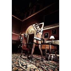 Agent Of Love Юбочка светло-розовая  из тюлевой ткани в полосочку с черными кружевными рюшами и подв  Юбочка с подвязками для чулков в волнующем и контрастном дизайне -  это истинное испытании чувств.