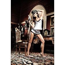 Agent Of Love Комплект маечка и шортики серебристо-серая сатиновая с кромкой из черного кружева; SM  Прохладно и в то же время темпераментно cеребристо-серый комплект из нежной маечки и симпатичных шортиков заигрывает своим привлекательным дизайном.