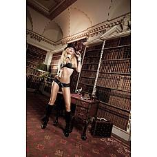 Agent Of Love Комплект бикини черный с  трусиками, косточками, белыми кружевными деталями и бантиком;  Исключительно криминально предстает черный комплект с Balconnet бюстгальтером и трусиками.