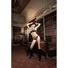 Agent Of Love Комплект бикини черный с G-стрингами, косточками, белыми кружевными деталями и бантиком  Исключительно криминально предстает черный комплект с Balconnet бюстгальтером и G-стрингами.