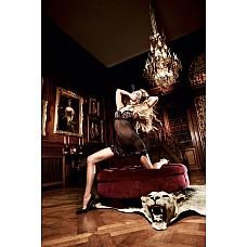Beauty Inside The Beast Платьице черное из тюлевой ткани с мягкими чашечками в леопардовом узоре; ML  Страстно черное платьице в экстравагантном дизайне.