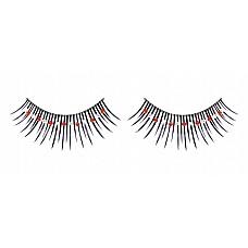 Ресницы чёрные с красными и серебряными стразами  Сенсационные черные длинные ресницы ручной работы с красными и белыми кристаллами.