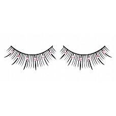 Ресницы чёрные с розовыми  стразами  Элегантные черные ресницы ручной работы средней длины со сверкающими розовыми кристаллами.