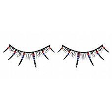 Ресницы чёрные с красными и голубыми стразами  Черные ресницы ручной работы с короткими и длинными ресничками и кристаллами красного и синего цветов.