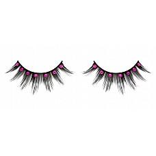 Ресницы чёрные с розовыми  стразами  Черные ресницы ручной работы с короткими и длинными ресничками и ярко-розовыми кристаллами.