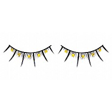 Ресницы чёрные с жёлтыми стразами  Черные ресницы ручной работы с короткими и длинными ресничками и желтыми кристаллами.