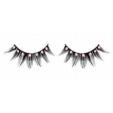 Ресницы чёрные с розовыми  стразами  Черные ресницы ручной работы с короткими и длинными ресничками и розовыми кристаллами.