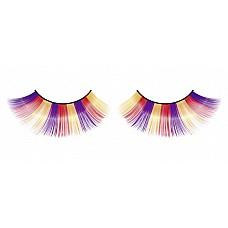 Ресницы фиолетово-оранжево-желтые  Очаровательные веерообразные длинные ресницы ручной работы, выполненные в лиловом, оранжевом и желтом цветах, с необычным блеском.