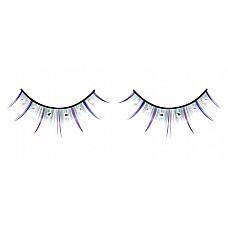 Ресницы разноцветные длинные со стразами  Легкомысленные ресницы ручной работы, выполненные в синем, лиловом и зеленом цветах, с белыми кристаллами.
