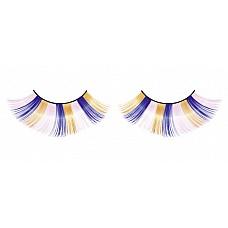 Ресницы голубо-розово-желтые  Очаровательные веерообразные длинные ресницы ручной работы, выполненные в розовом, синем и желтом цветах, с необычным блеском.