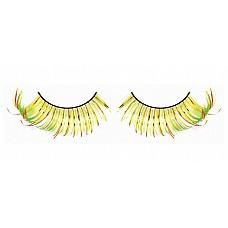 Ресницы жёлто-оранжево-зеленые  Необычные и пленительные ресницы из мягких высококачественных перьев ручной обработки, выполненные в желтом, оранжевом и светло-зеленом цвете, веерообразные.