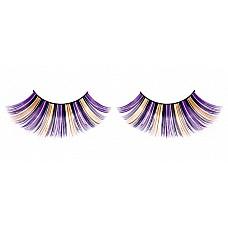 Ресницы фиолетово-черно-желтые  Очаровательные веерообразные длинные ресницы ручной работы, выполненные в лиловом, черном и желтом цветах, с необычным блеском.