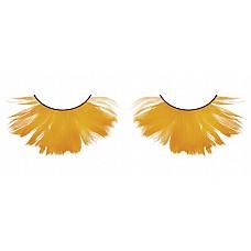 Ресницы оранжевые  перья  Крупные, яркие, относительно густые ресницы из мягких высококачественных перьев ручной обработки оранжевого цвета, веерообразные.