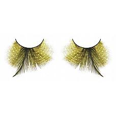 Ресницы жёлтые  перья  Экзотические длинные ресницы из мягких высококачественных перьев ручной обработки желтого цвета с контрастными, привлекающими внимание перьями.
