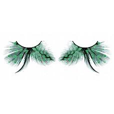 Ресницы бирюзовые  перья  Изысканные ресницы из мягких высококачественных перьев ручной обработки бирюзового цвета с рисунком в крапинку и длинными средними перышками.