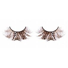 Ресницы коричневые  перья  Стильные изогнутые ресницы из мягких высококачественных перьев ручной обработки, коричневого цвета, пушистые по краям и с рисунком в крапинку.