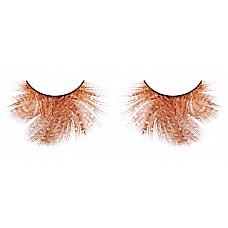 Ресницы оранжево-красные  перья  Искусно выполненные ресницы из мягких высококачественных перьев ручной обработки в оранжевом и красном цветах, пушистые, с рисунком в крапинку.