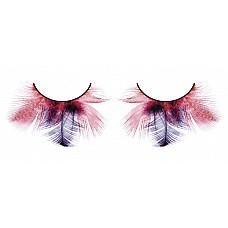Ресницы красно-фиолетовые  перья  Необычные и легкомысленные ресницы из мягких высококачественных перьев ручной обработки, волнующие, выполненные в красном и лиловом цвета.