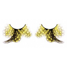Ресницы жёлтые  перья  Игривые длинные ресницы из мягких высококачественных перьев ручной обработки желтого цвета, подкрученные, с привлекающими внимание перьями.