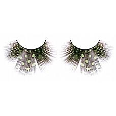 Ресницы светло-зелёные  перья  Необычные ресницы из мягких высококачественных перьев ручной обработки, темные, веерообразные, со светло-зеленым узором в крапинку.