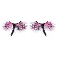 Ресницы розовые  перья  Красивые ресницы из мягких высококачественных перьев ручной обработки с розовым рисунком в крапинку и темным элементом посередине.